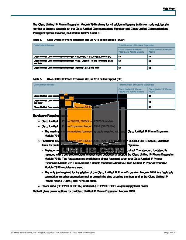 PDF manual for Cisco Telephone CP-7962G