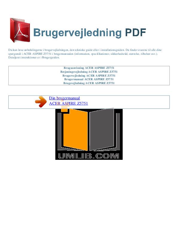 pdf for Acer Desktop Aspire Z5751 manual