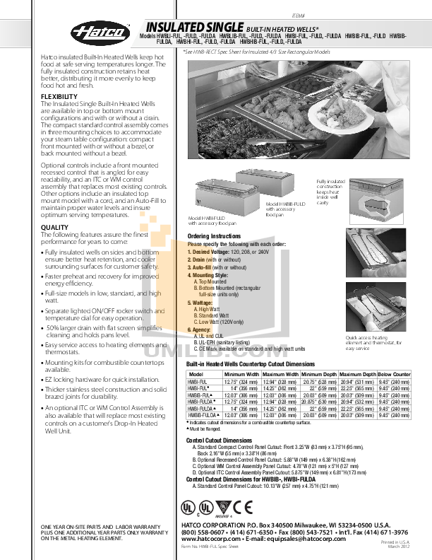 pdf for Hatco Other HWBHIB-FUL manual