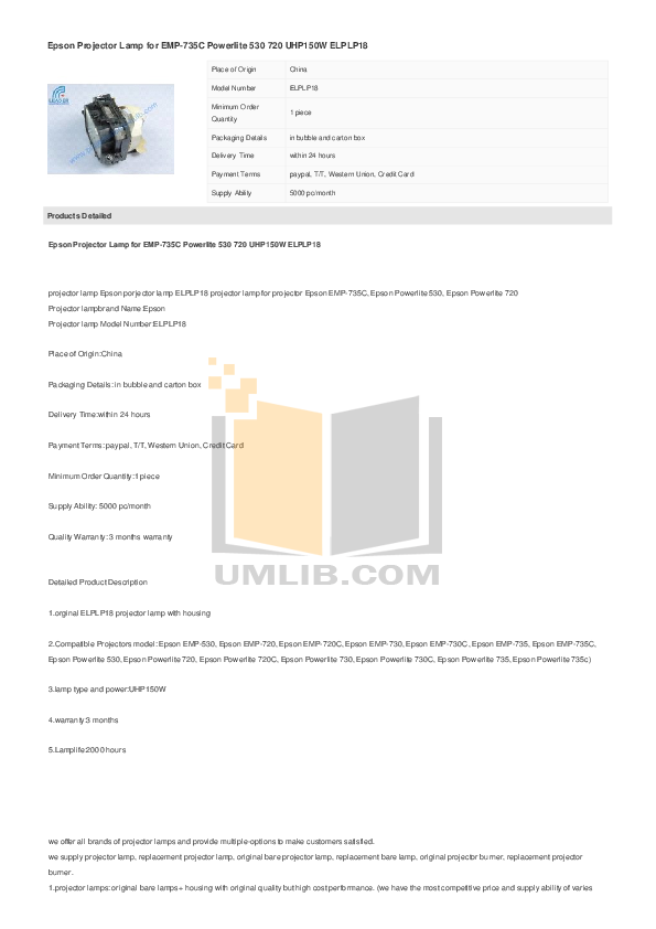 pdf for Epson Projector PowerLite 735c manual
