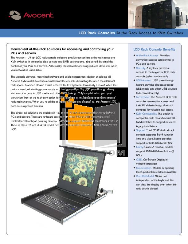 pdf for Avocent Monitor ECS17 manual