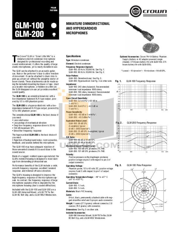 pdf for Crown Other GLM-100 Microphones manual