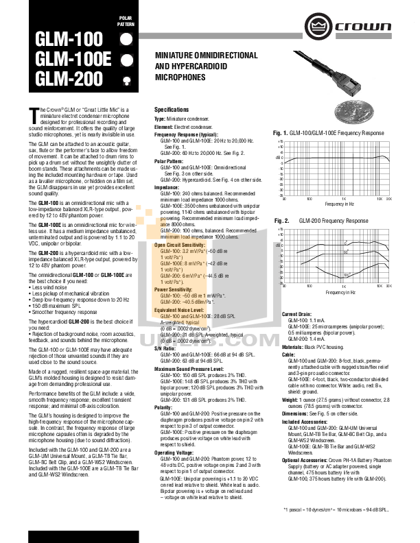 Crown Other GLM-100 Microphones pdf page preview