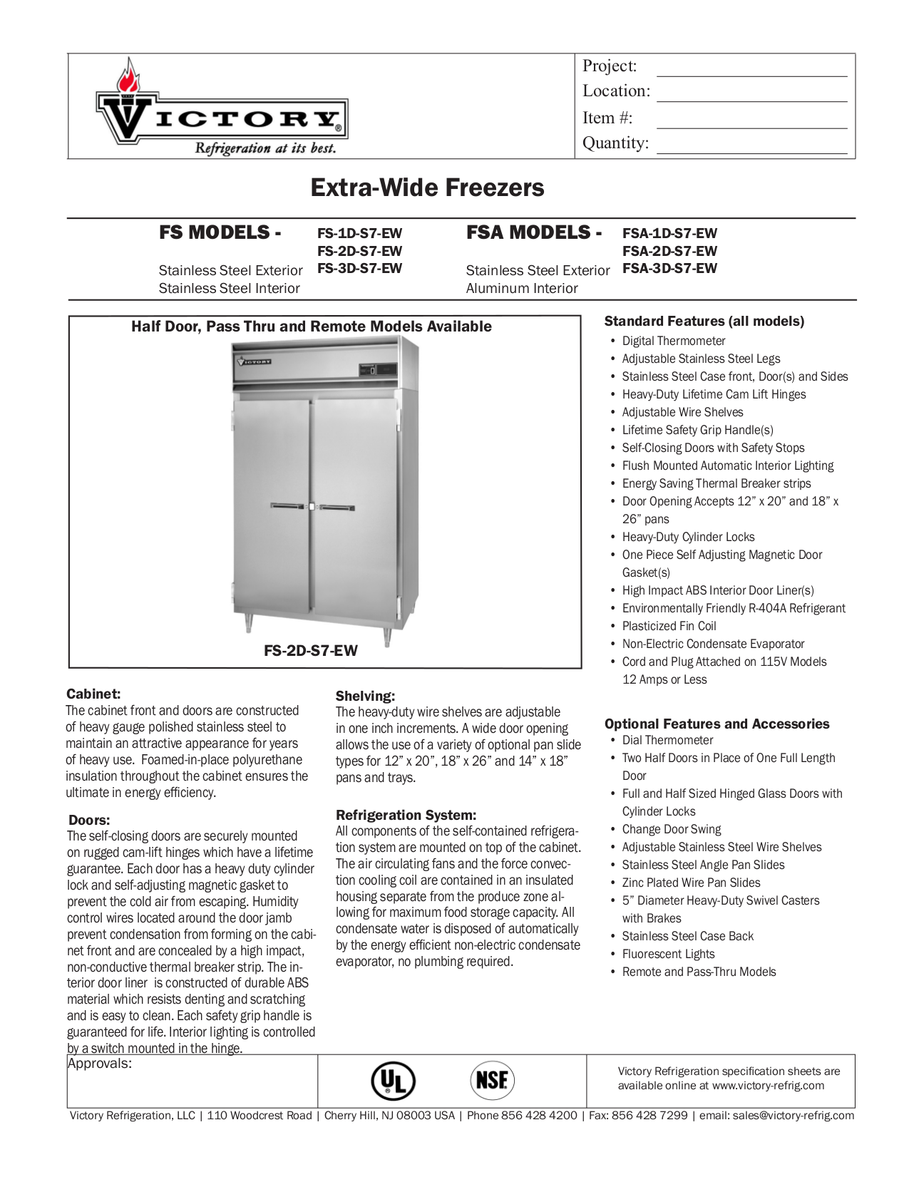 pdf for Victory Freezer FS-3D-S7 manual