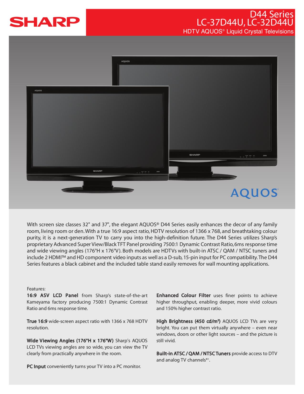 sharp aquos lc c3742u manual free owners manual u2022 rh wordworksbysea com Sharp AQUOS Troubleshoot Reset Sharp AQUOS HDTV
