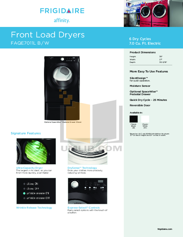 pdf for Frigidaire Dryer Affinity FAQE7011L manual