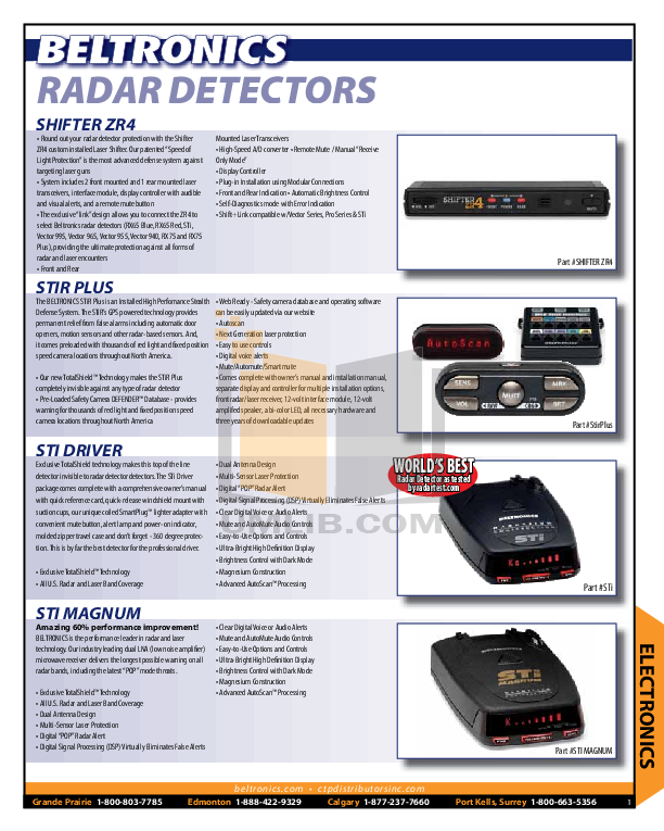 pdf for Beltronics Radar Detector Vector 955 manual