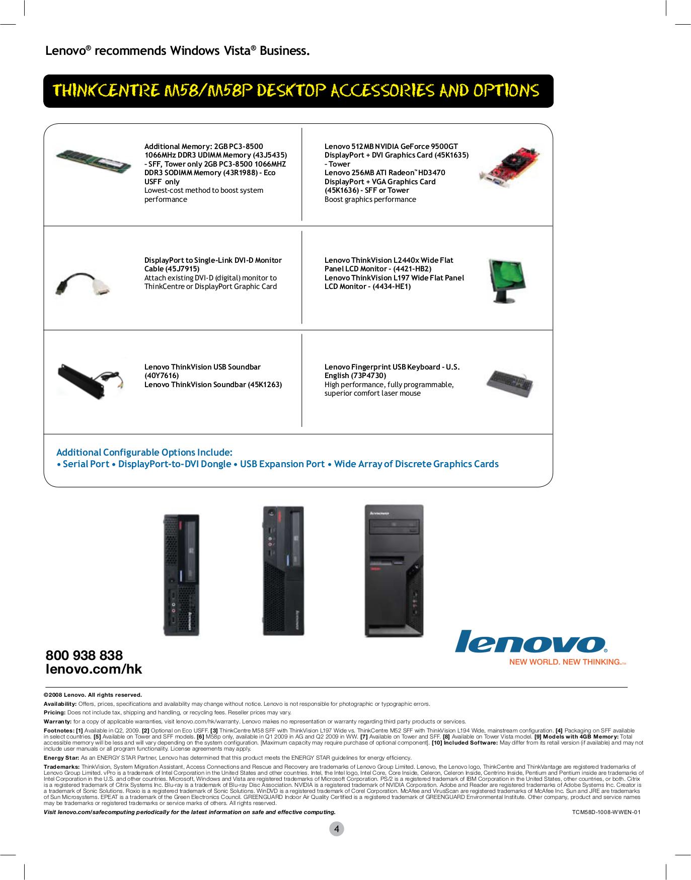 Lenovo Desktop ThinkCentre M58p 7356 pdf page preview
