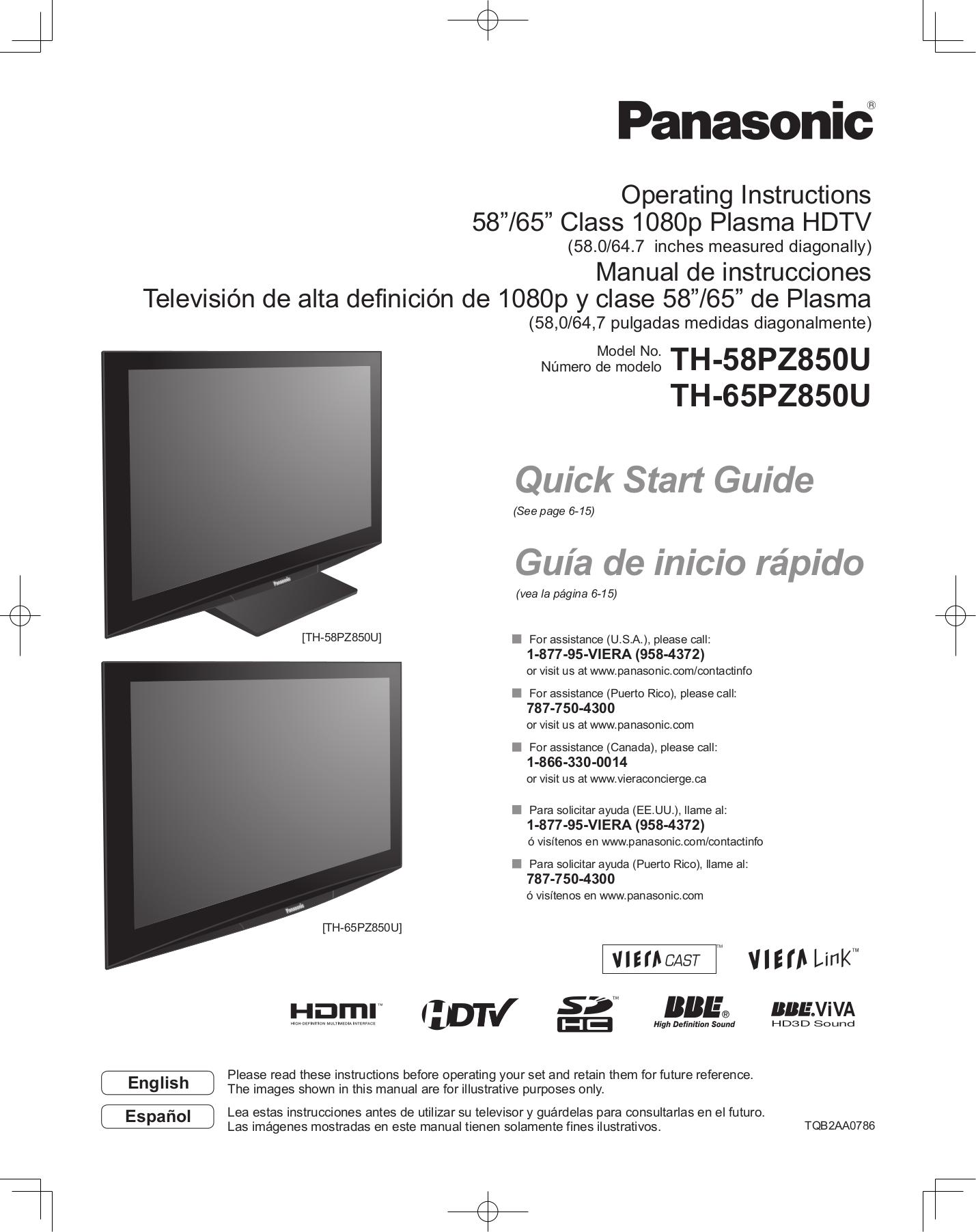Download Free Pdf For Panasonic Viera Th 58pz850 Tv Manual border=