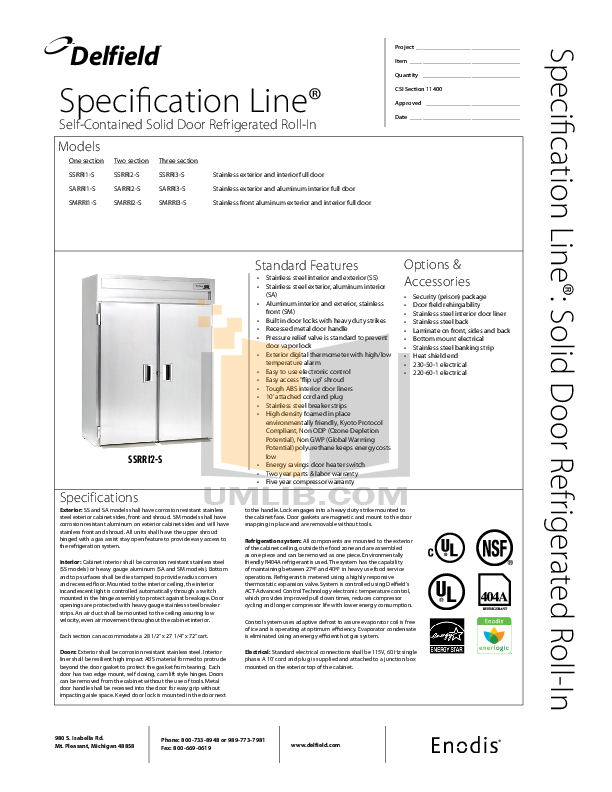 pdf for Delfield Refrigerator SSRRI1-S manual