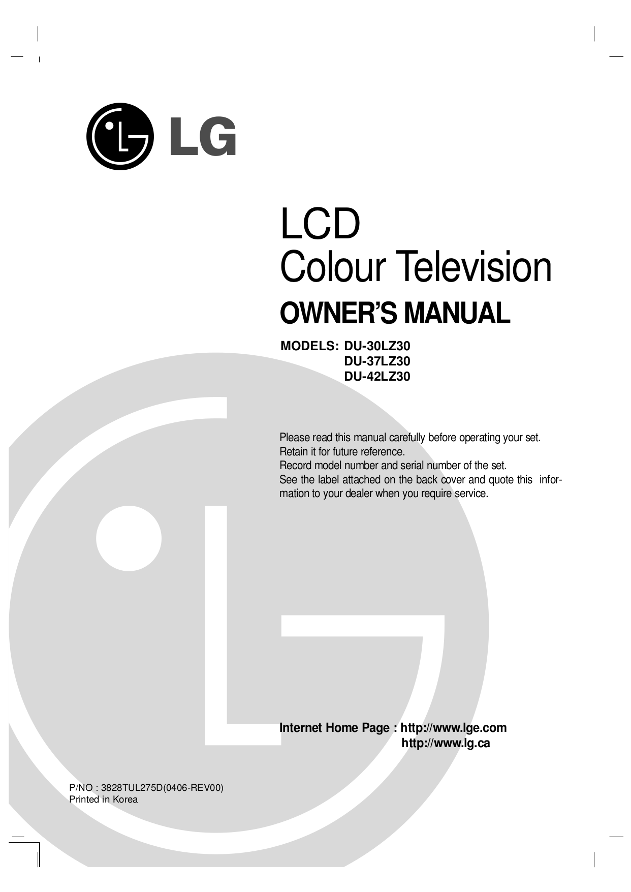 pdf for LG TV DU-37LZ30 manual