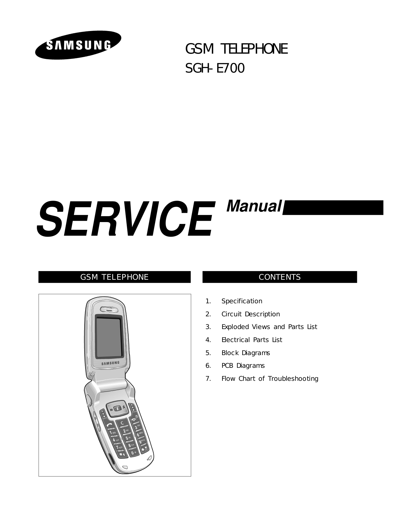 pdf for Samsung Cell Phone SGH-E700 manual