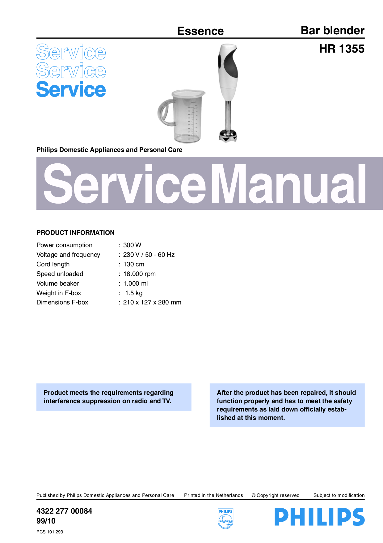 Download free pdf for Philips Essence HR1355 Blender manual