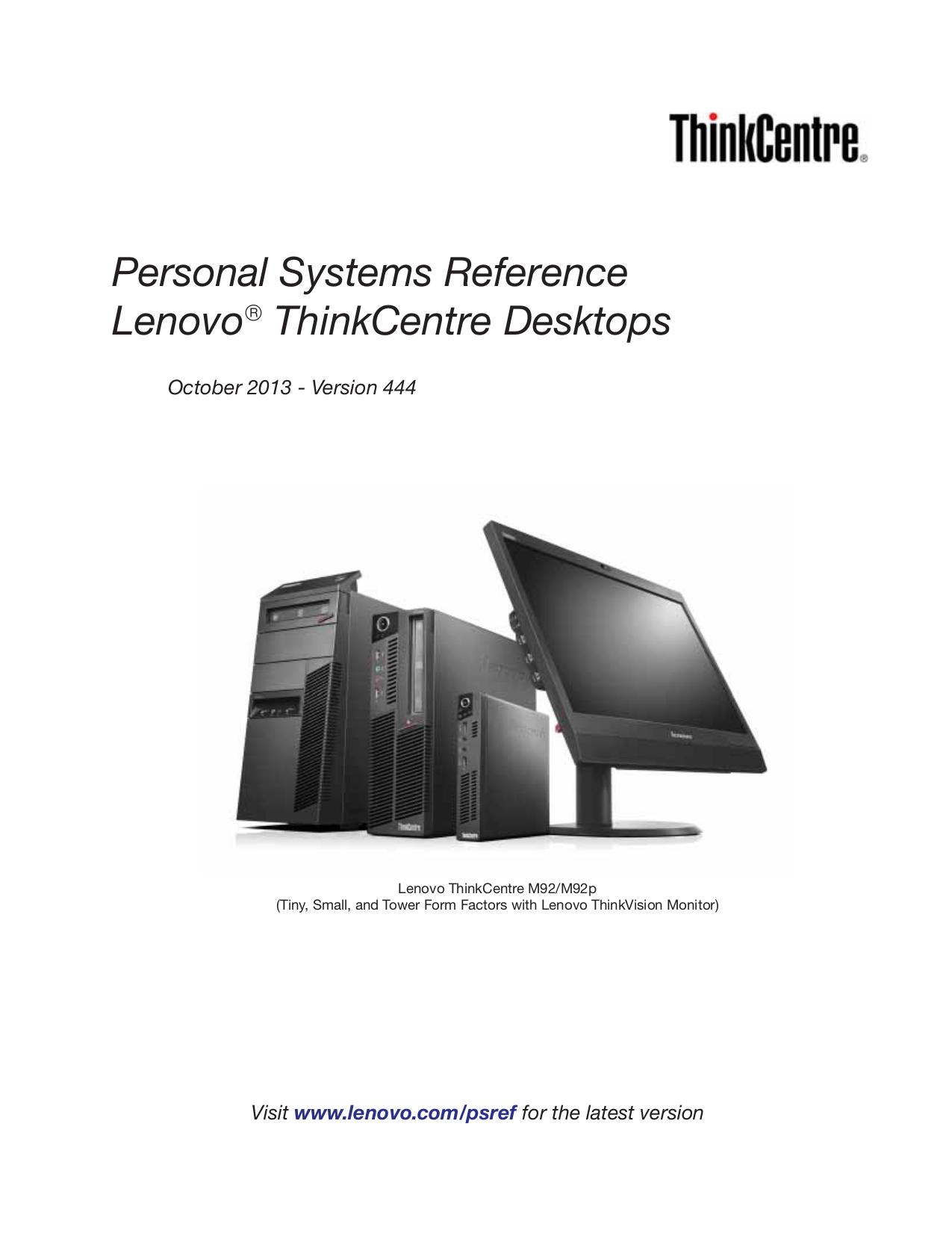 pdf for Lenovo Desktop ThinkCentre M58e 7303 manual