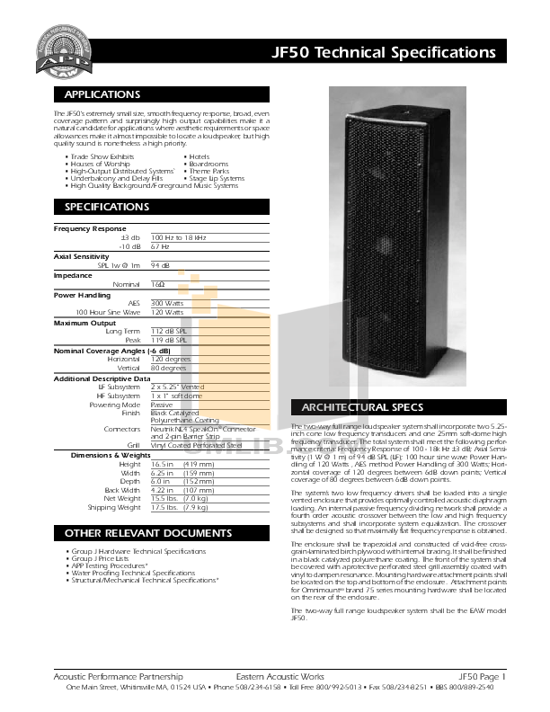 Eaw Speaker System JF50 pdf page preview