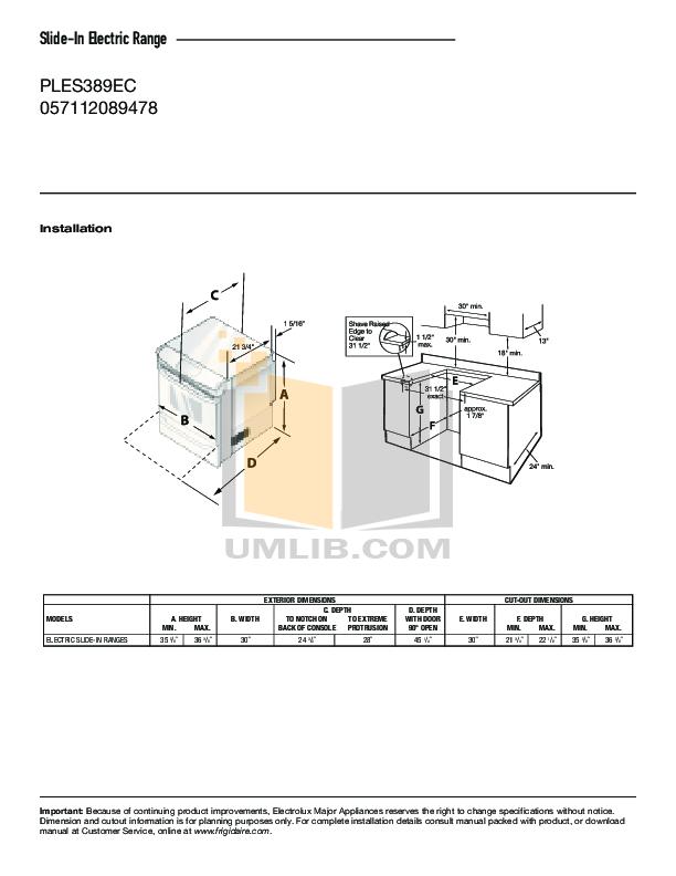 pdf for Frigidaire Range PLCS389ECE manual