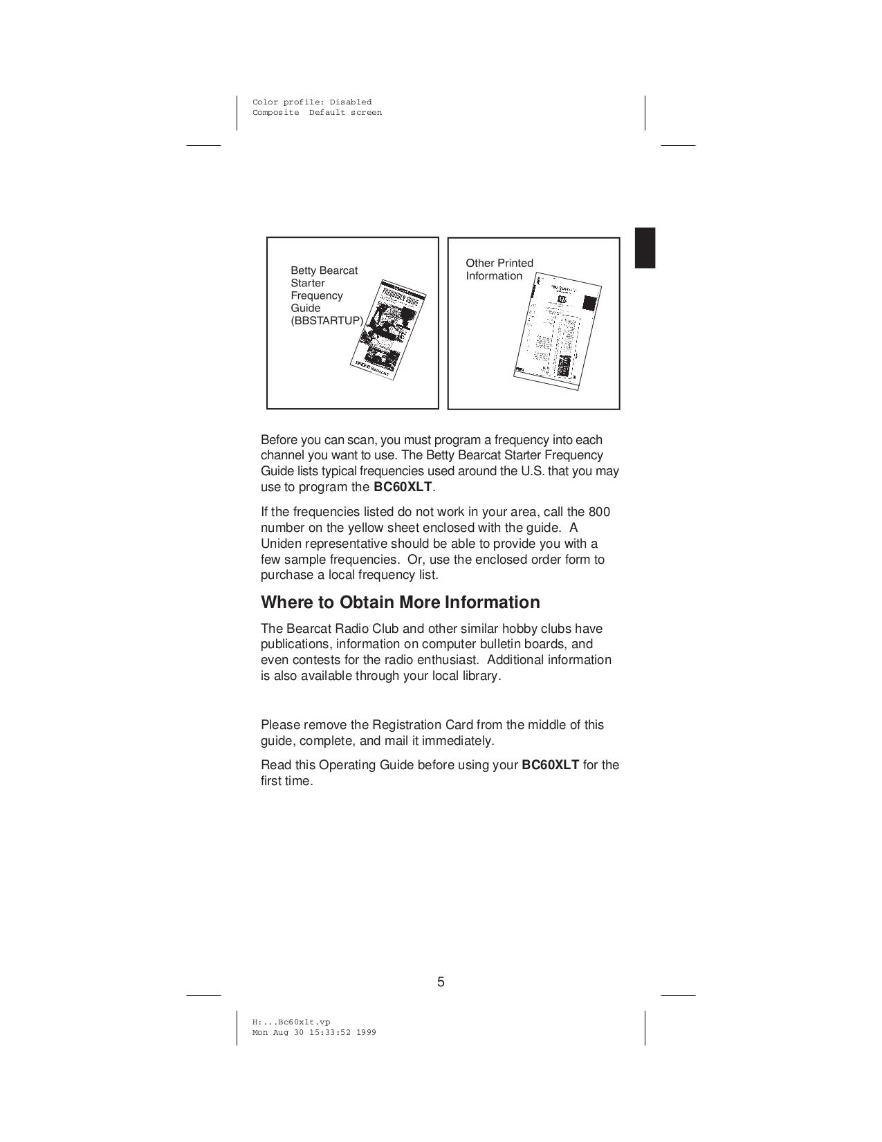 ... Uniden Scanner BC60XLT pdf page preview