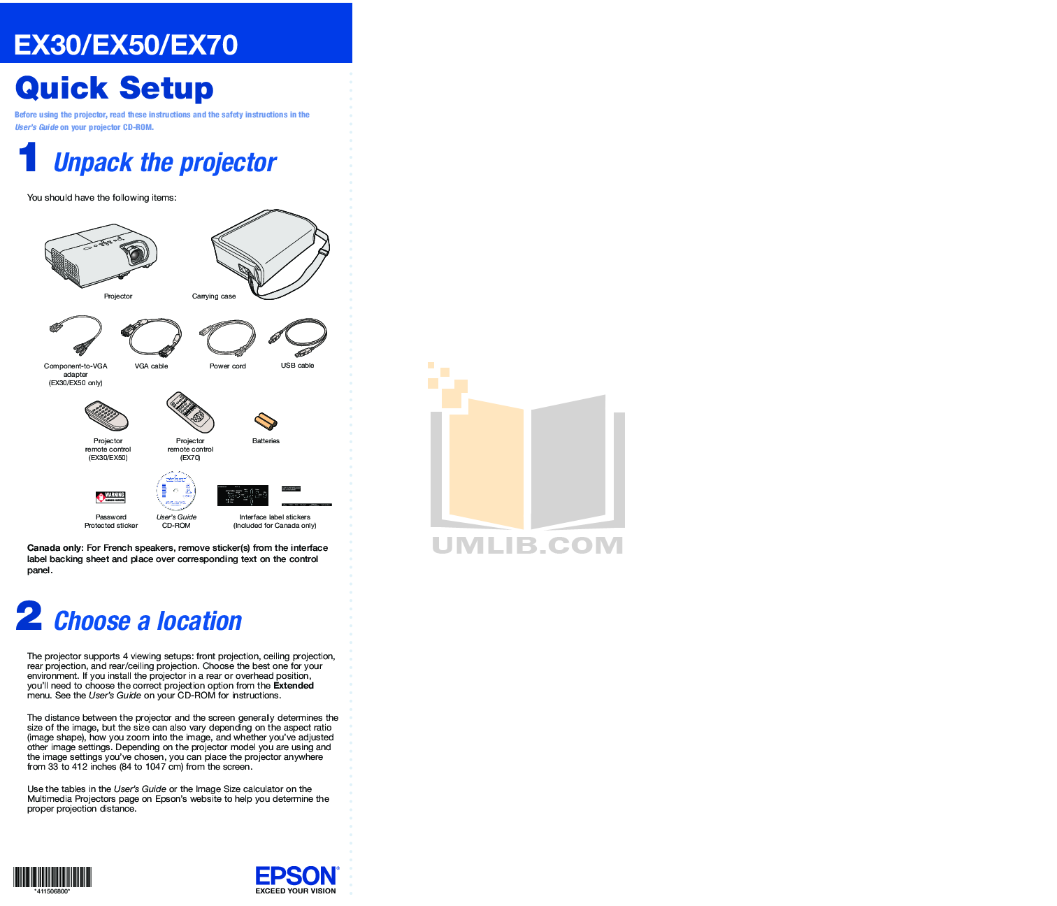 pdf for Epson Projector EX30 manual