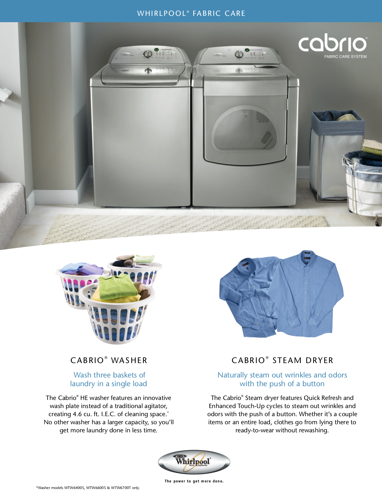 pdf for Whirlpool Washer WTW6200S manual