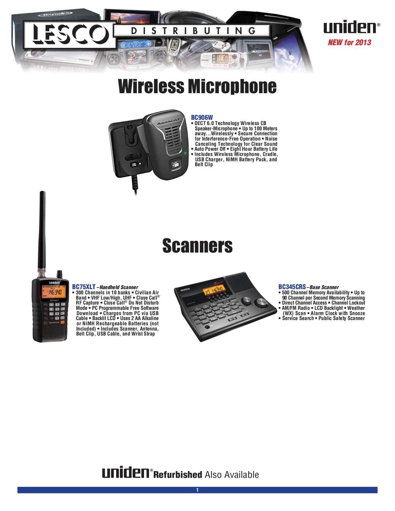 pdf for Uniden 2-way Radio PRO520XL manual