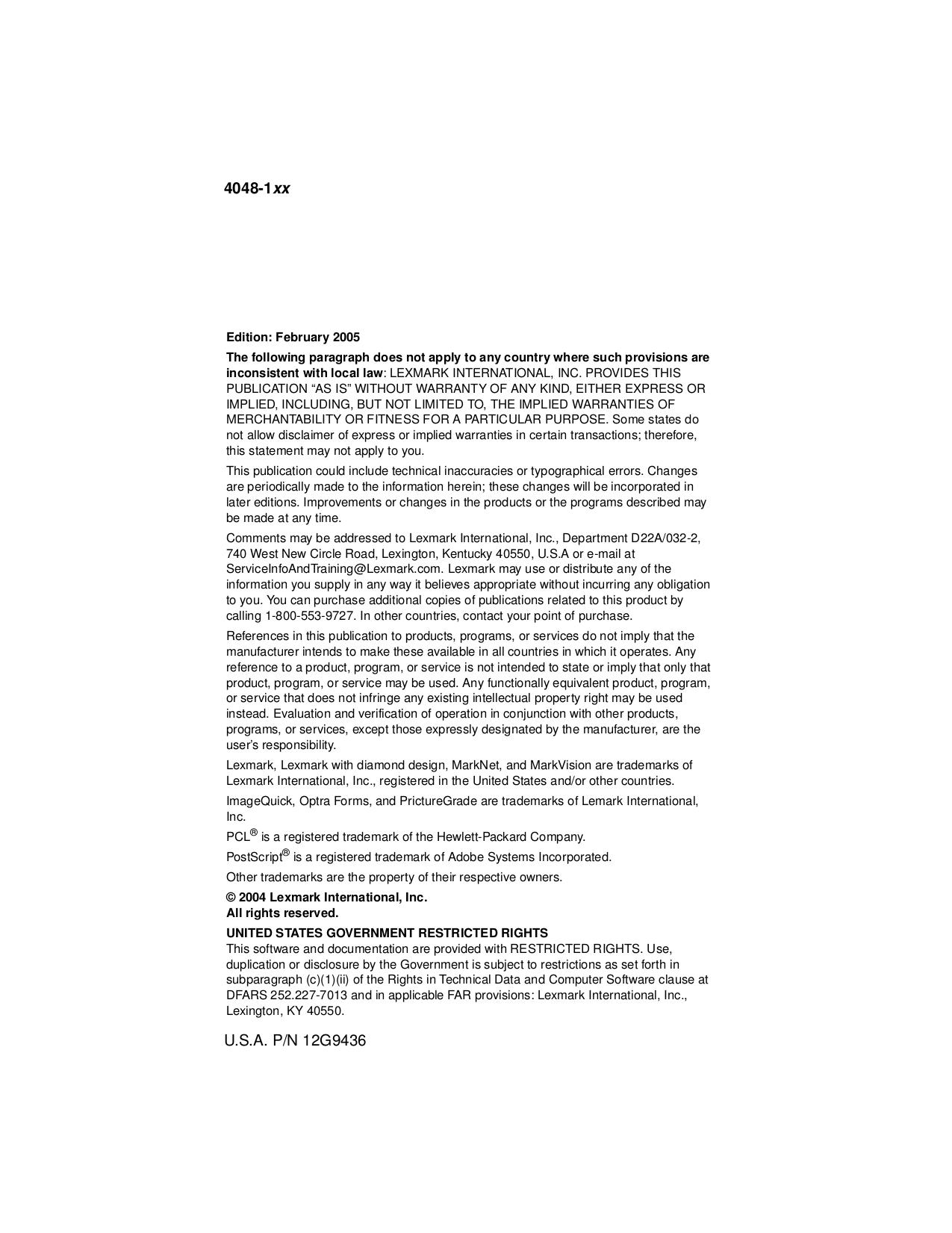 Lexmark Printer T430 pdf page preview
