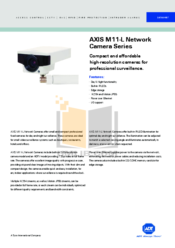 pdf for Axis Security Camera M1113-E manual