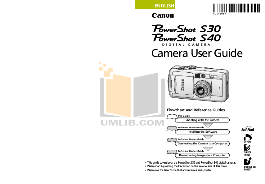 pdf for Canon Digital Camera Powershot S40 manual