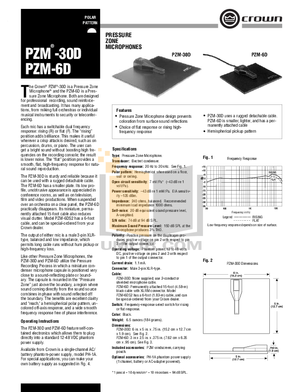 pdf for Crown Other PZM-6D Microphones manual