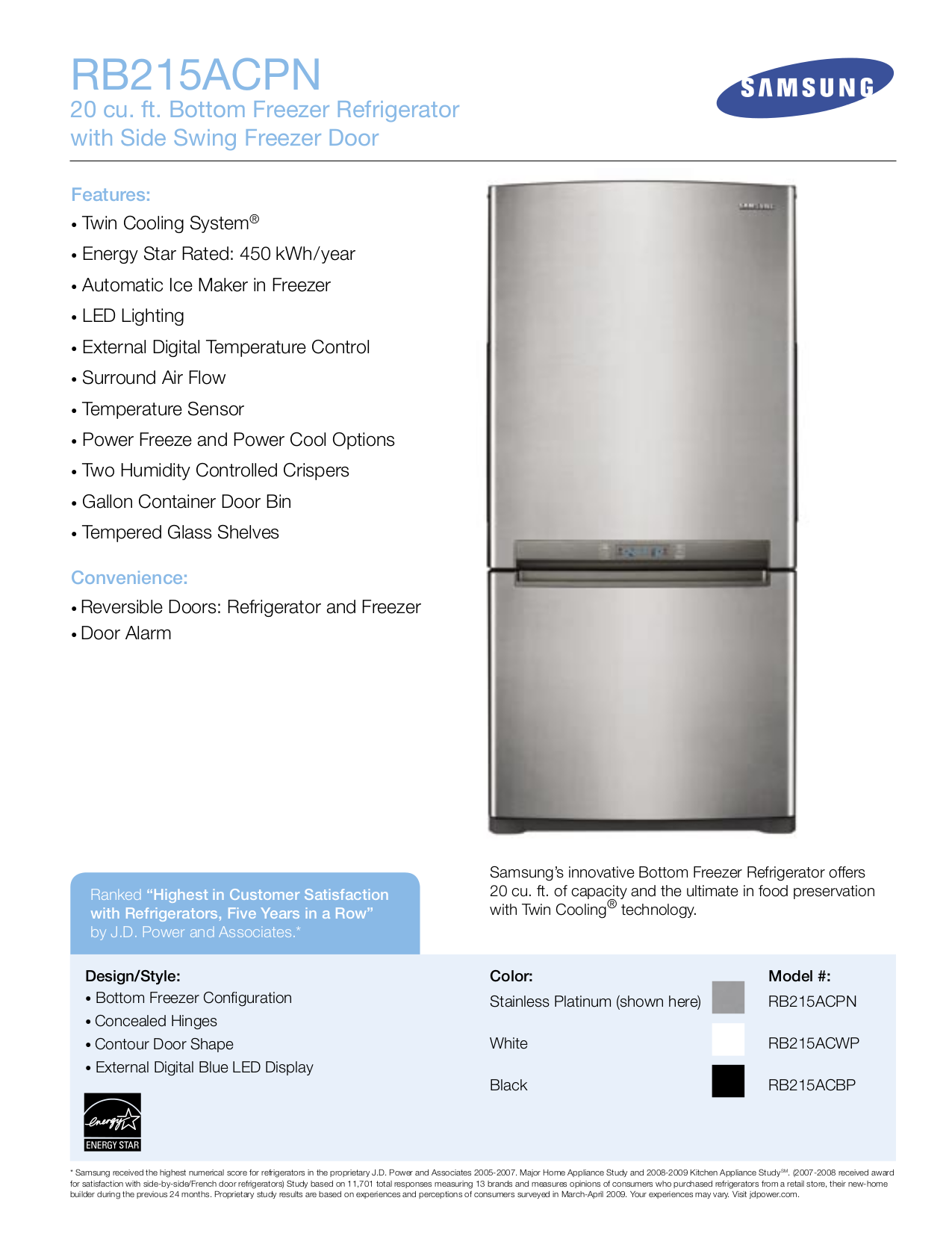 pdf for Samsung Refrigerator RB215ACBP manual