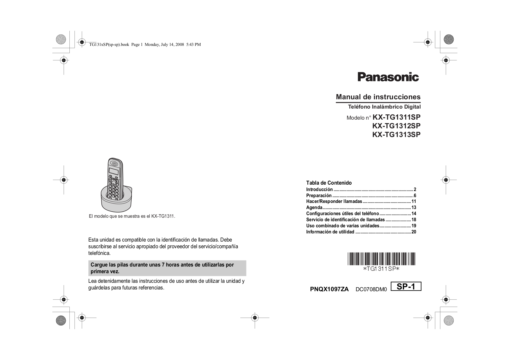 Panasonic kx-tg2357 telephone user manual. Download as pdf.
