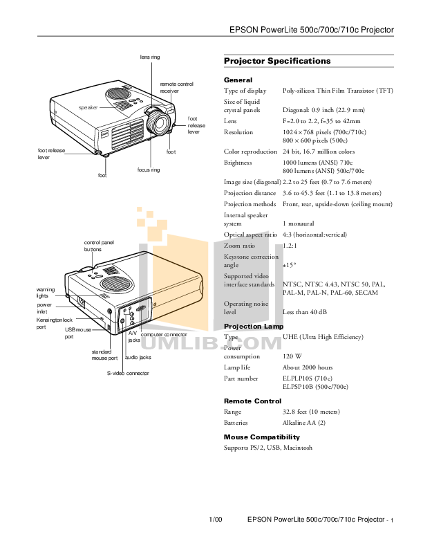 pdf for Epson Projector PowerLite 500c manual