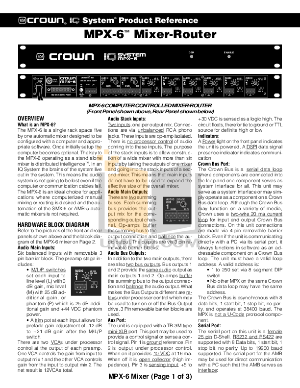 pdf for Crown Other MPX-6 IQ Mixers manual