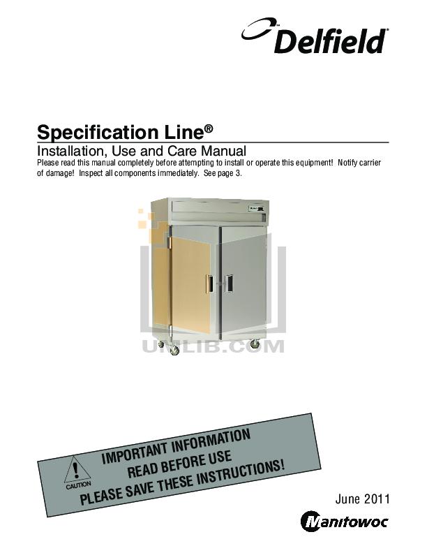 pdf for Delfield Refrigerator SSRFF1-S manual