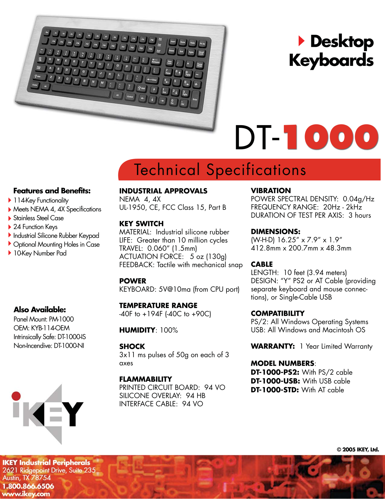 pdf for iKey Keyboard DT-1000 manual
