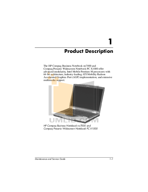 HP Laptop Compaq Presario,Presario X1058 pdf page preview