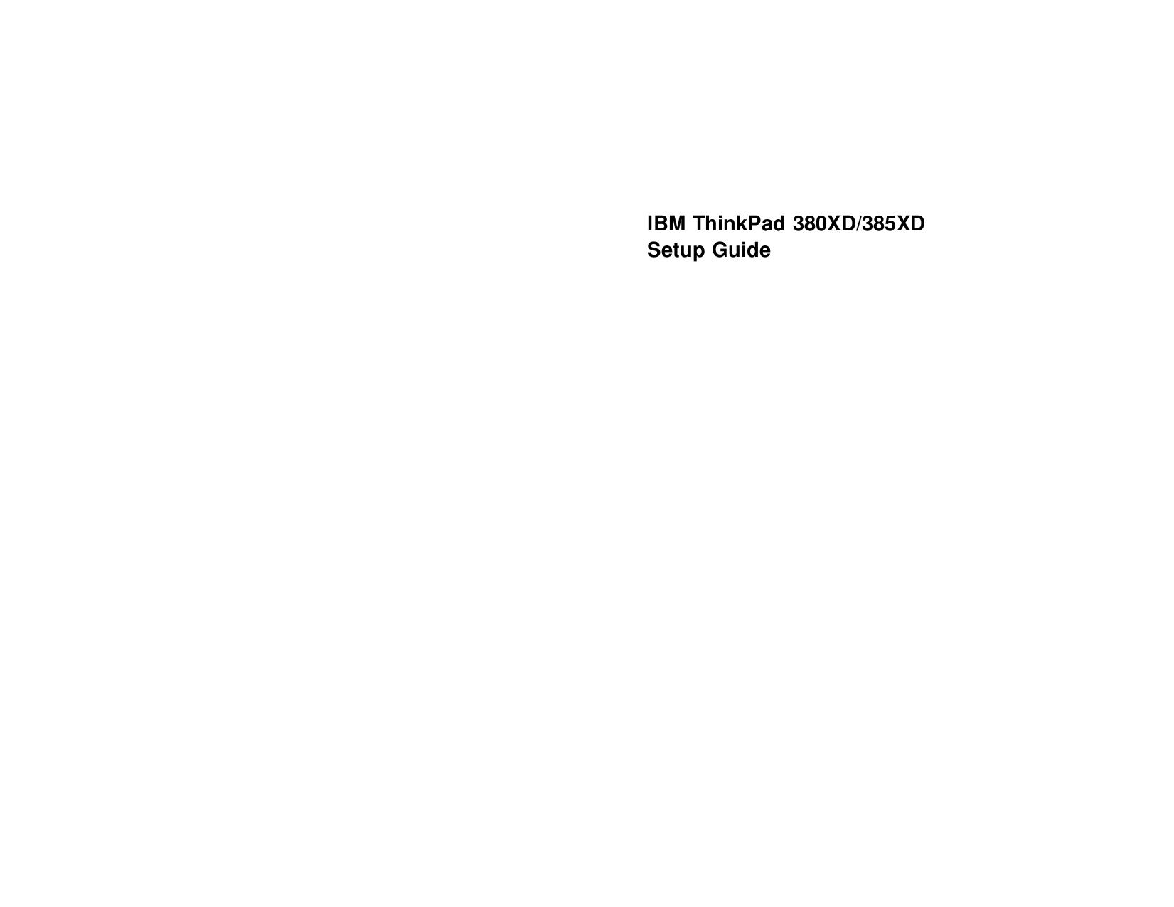 pdf for IBM Laptop ThinkPad 380XD manual