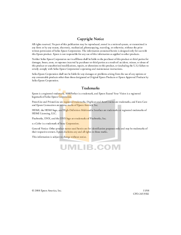 Epson Projector PowerLite 7500c pdf page preview