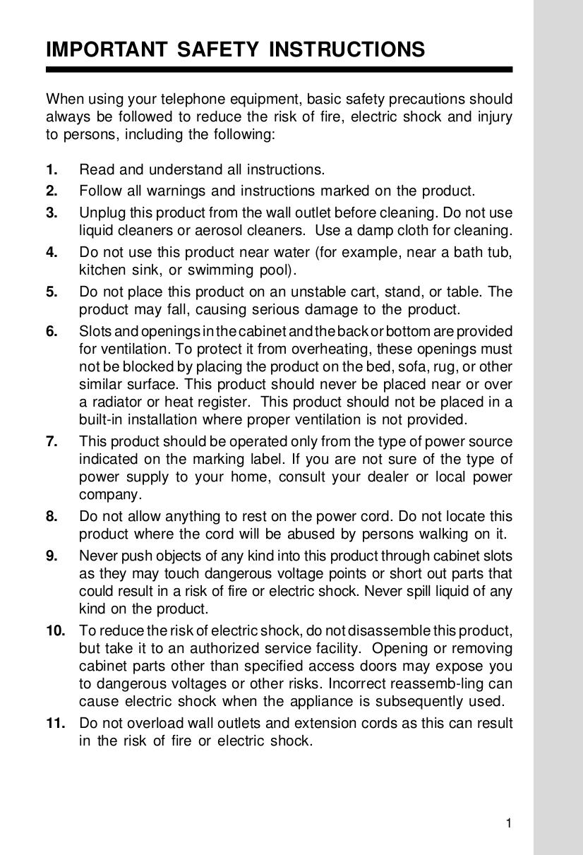 pdf for Vtech Telephone t2416 manual