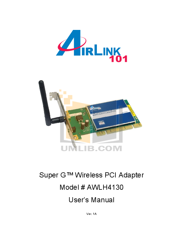 pdf for Airlink Other AWLH4130 Adapters manual