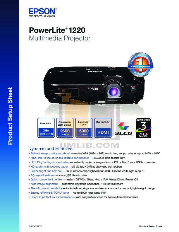 pdf for Epson Projector PowerLite 1220 manual