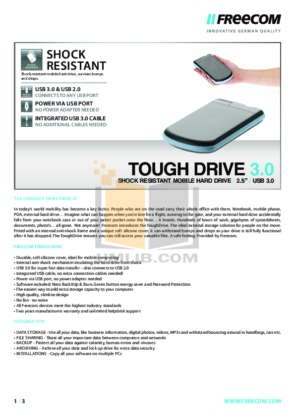 pdf for Freecom Storage ToughDrive manual