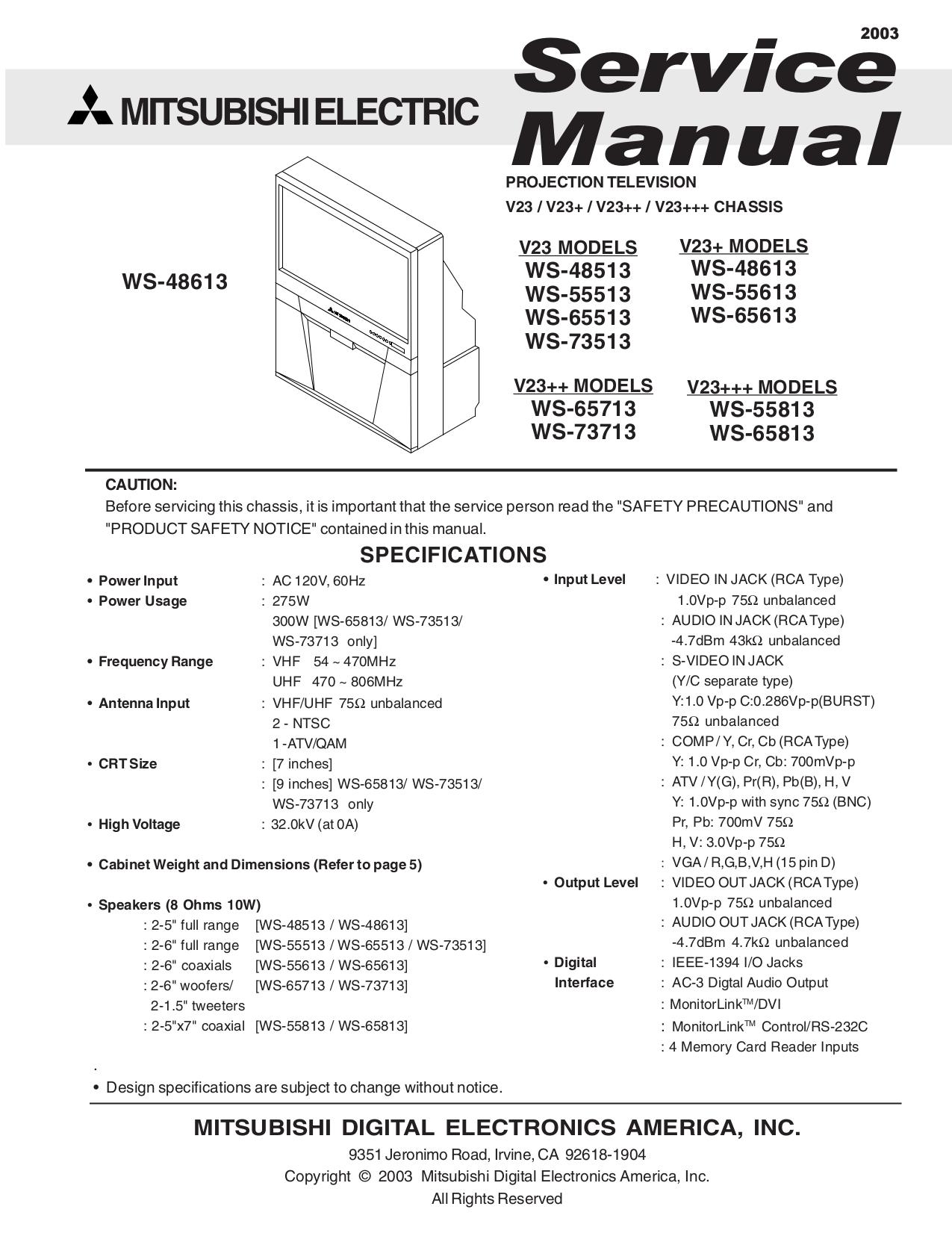 download free pdf for mitsubishi ws 65813 tv manual rh umlib com service manual mitsubishi fg25k Mitsubishi TV Schematics