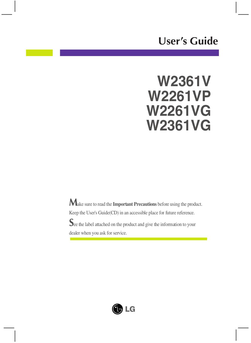 pdf for LG Monitor W2361VG manual