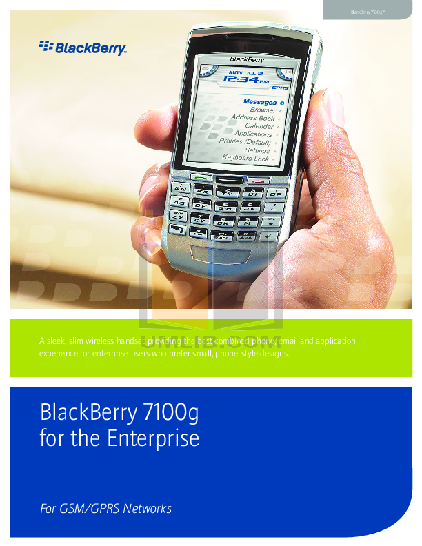 pdf for Blackberry Cell Phone 7100g manual