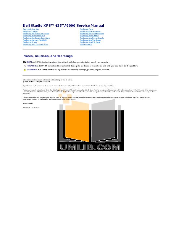 download free pdf for dell studio xps 9000 desktop manual rh umlib com dell studio xps 1645 user manual dell studio xps 8100 user manual