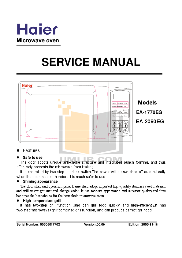 pdf for Haier Microwave HR-2080EG manual