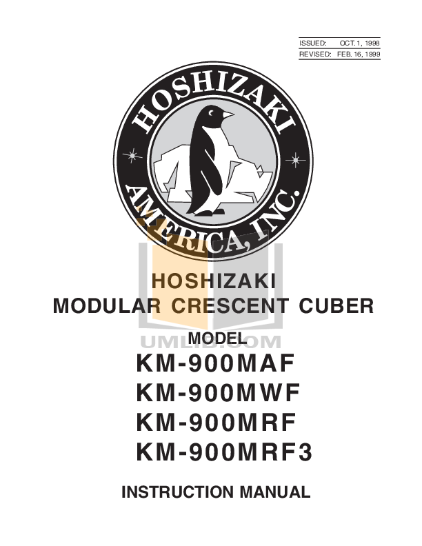 pdf for Hoshizaki Other KM-900MRF Cuber Machines manual