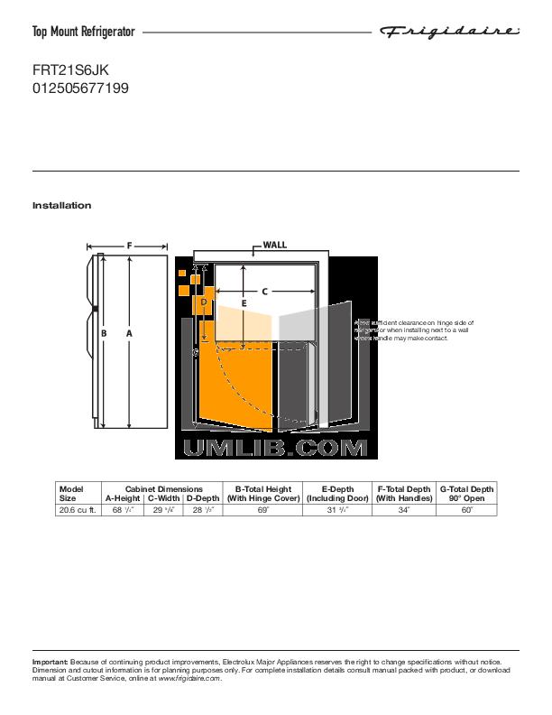 pdf for Frigidaire Refrigerator FRT21S6JK manual