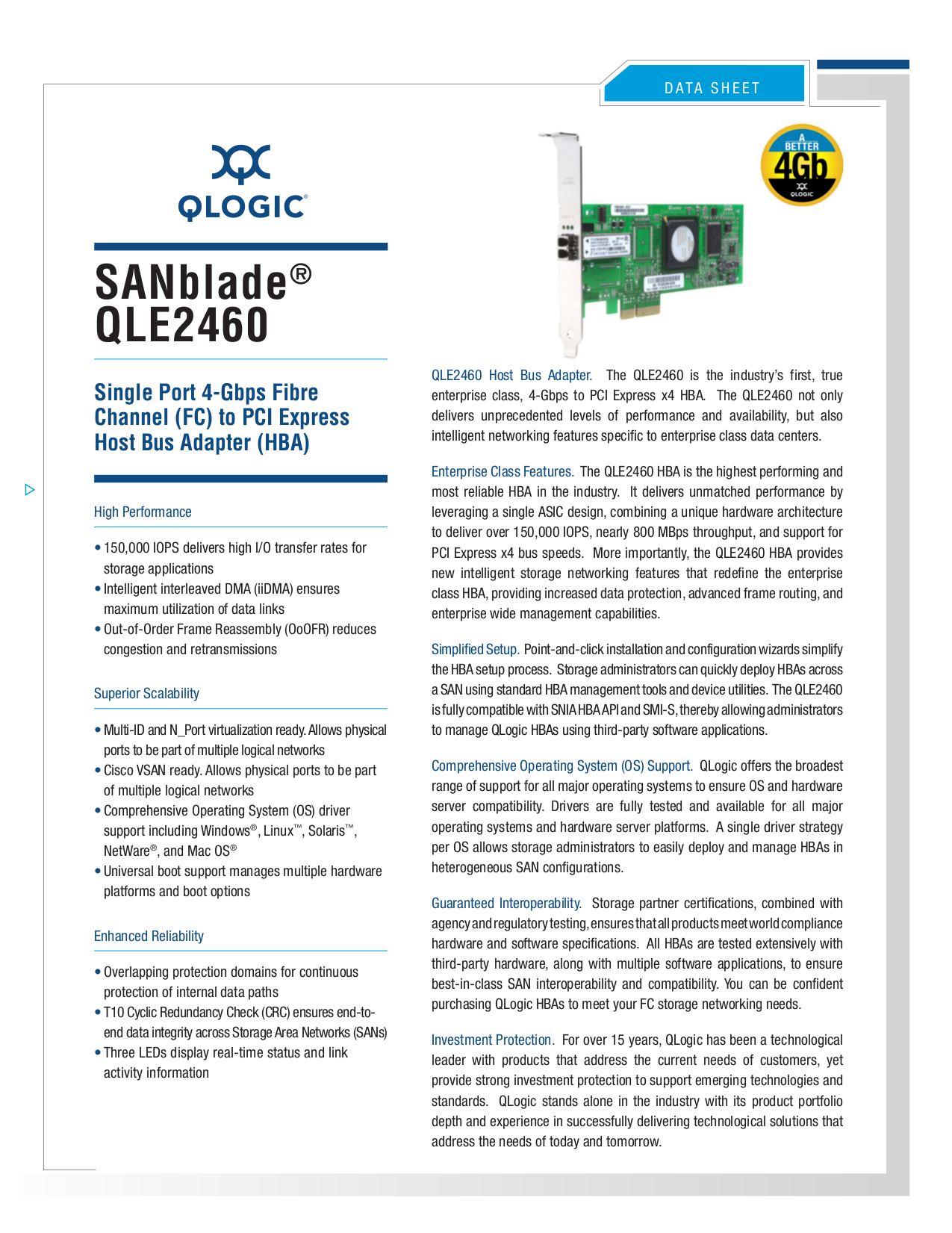 pdf for Qlogic Other SANblade QMH2462 Adapters manual