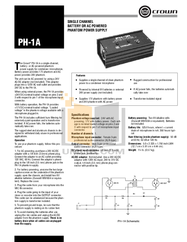 pdf for Crown Other PH-1A Adapters manual
